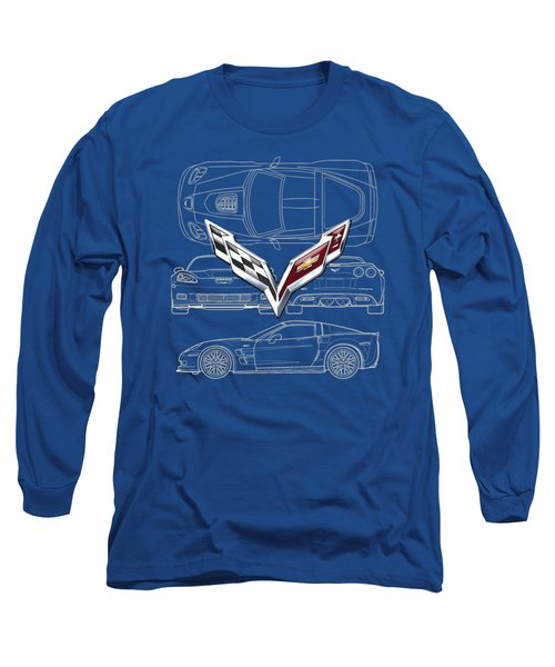 Chevrolet Corvette 3 D Badge Over Corvette C 6 Z R 1 Blueprint Long Sleeve T-Shirt