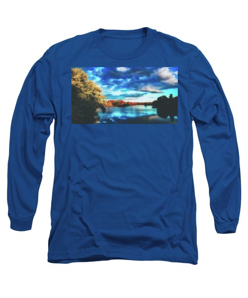 Cloudy Skies Over The Stillwater River Long Sleeve T-Shirt