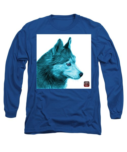 Cyan Siberian Husky Art - 6048 - Wb Long Sleeve T-Shirt