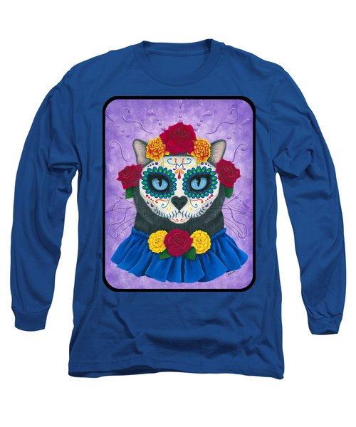 Long Sleeve T-Shirt featuring the painting Day Of The Dead Cat Gal - Sugar Skull Cat by Carrie Hawks