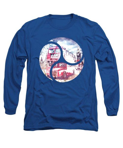 Graphic Art London Westminster Bridge Streetscene Long Sleeve T-Shirt