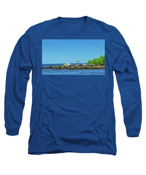Great Blue Heron On The Chesapeake Bay Long Sleeve T-Shirt