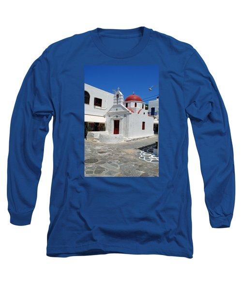 Mykonos Red Chapel Long Sleeve T-Shirt by Robert Moss