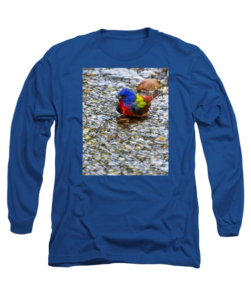 Da223 Painted Bunting Bathtime Daniel Adams Long Sleeve T-Shirt
