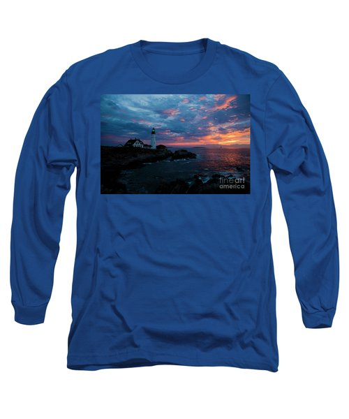 Portland Head Light At Sunrise Long Sleeve T-Shirt