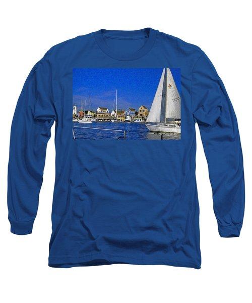 Long Sleeve T-Shirt featuring the photograph Sailing Marina Del Rey Fisherman's Village by David Zanzinger