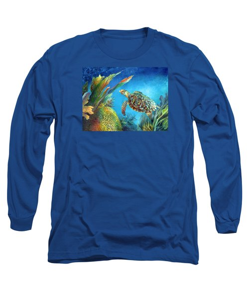Long Sleeve T-Shirt featuring the painting Sea Escape Iv - Hawksbill Turtle Flying Free by Nancy Tilles