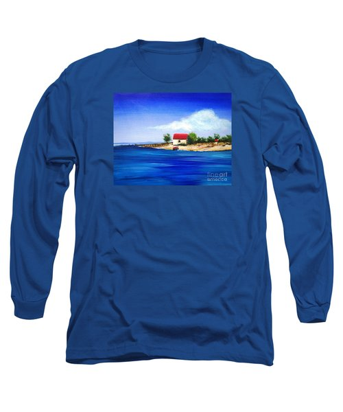 Long Sleeve T-Shirt featuring the painting Sea Hill Boatshed - Original Sold by Therese Alcorn