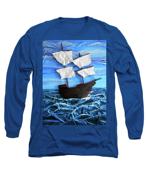 Long Sleeve T-Shirt featuring the mixed media Ship by Angela Stout
