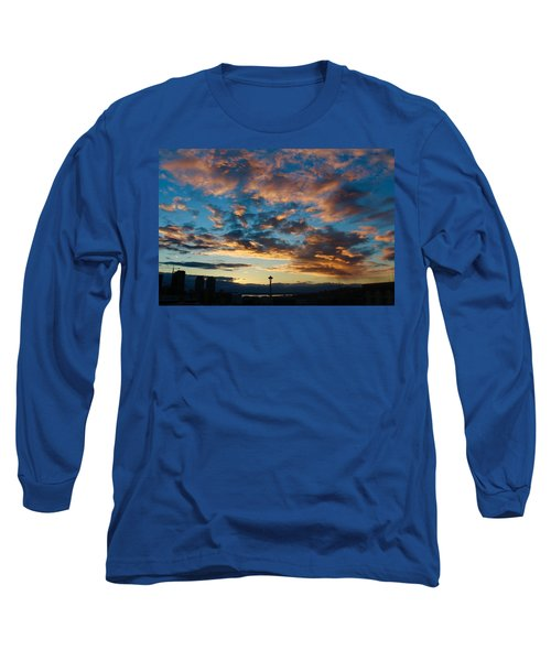 Space Needle In Clouds Long Sleeve T-Shirt by Suzanne Lorenz