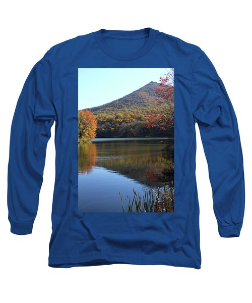 Long Sleeve T-Shirt featuring the photograph View Of Abbott Lake And Sharp Top In Autumn by Emanuel Tanjala