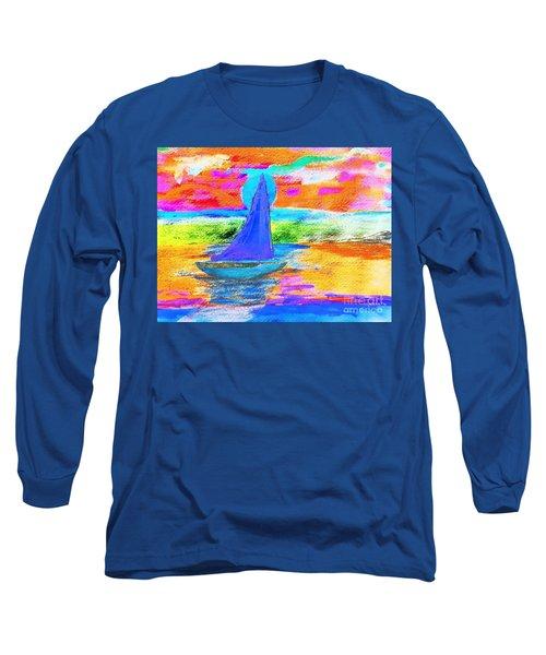 Watercolor Sailing Long Sleeve T-Shirt by Scott D Van Osdol