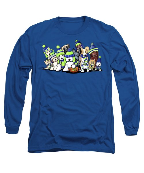 12 Dogs On Blue Long Sleeve T-Shirt
