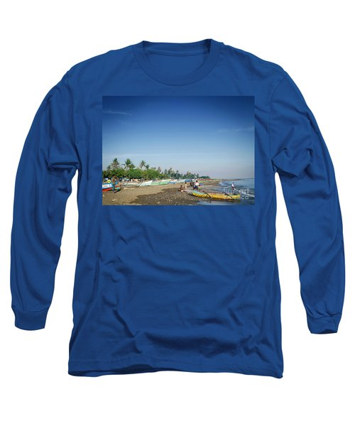 Traditional Fishing Boats On Dili Beach In East Timor Leste Long Sleeve T-Shirt