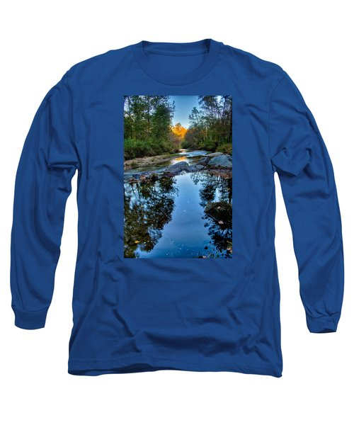 Long Sleeve T-Shirt featuring the photograph Stone Mountain North Carolina Scenery During Autumn Season by Alex Grichenko
