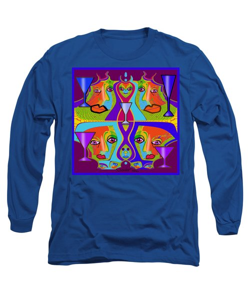 Long Sleeve T-Shirt featuring the digital art 1688 - Funny Faces 2017 by Irmgard Schoendorf Welch