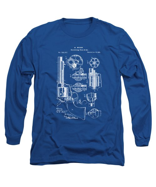 Long Sleeve T-Shirt featuring the drawing 1875 Colt Peacemaker Revolver Patent Blueprint by Nikki Marie Smith
