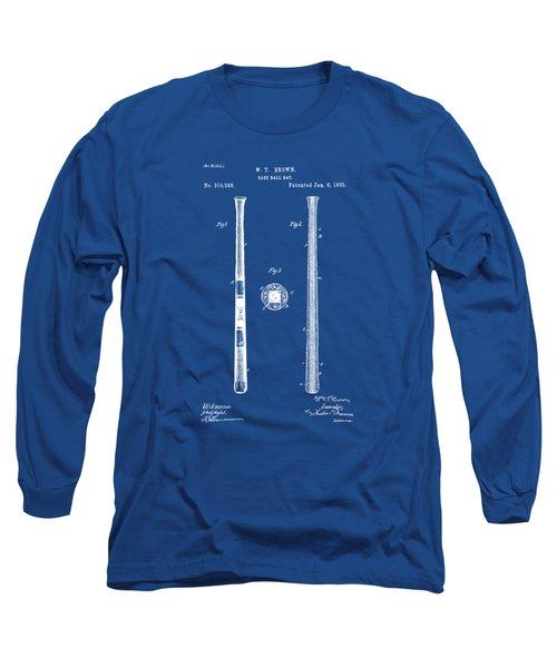 1885 Baseball Bat Patent Artwork - Blueprint Long Sleeve T-Shirt by Nikki Marie Smith