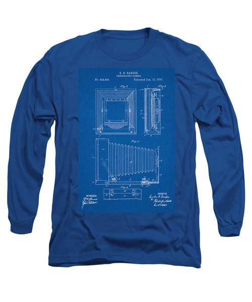1891 Camera Us Patent Invention Drawing - Blueprint Long Sleeve T-Shirt