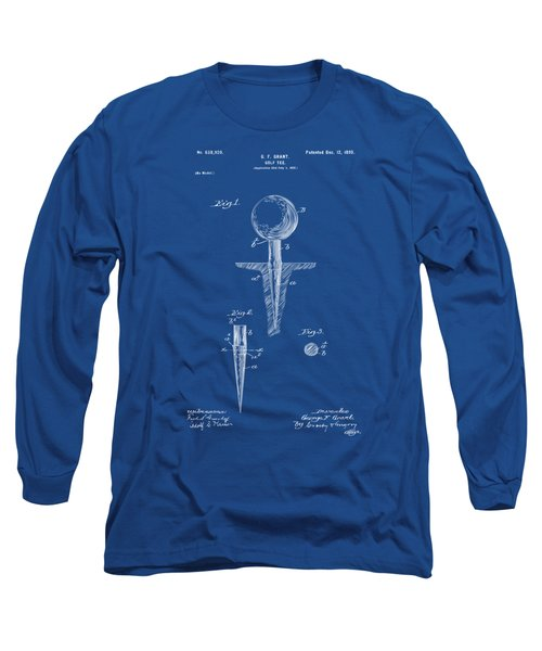1899 Golf Tee Patent Artwork - Blueprint Long Sleeve T-Shirt by Nikki Marie Smith