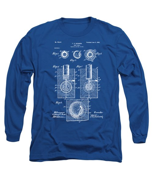 1902 Golf Ball Patent Artwork - Blueprint Long Sleeve T-Shirt by Nikki Marie Smith
