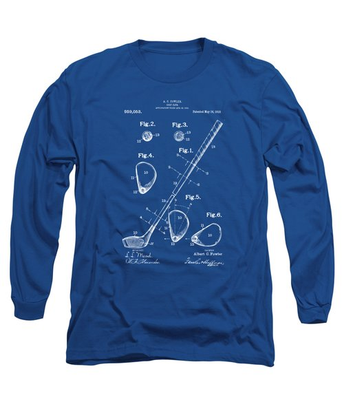 1910 Golf Club Patent Artwork Long Sleeve T-Shirt by Nikki Marie Smith