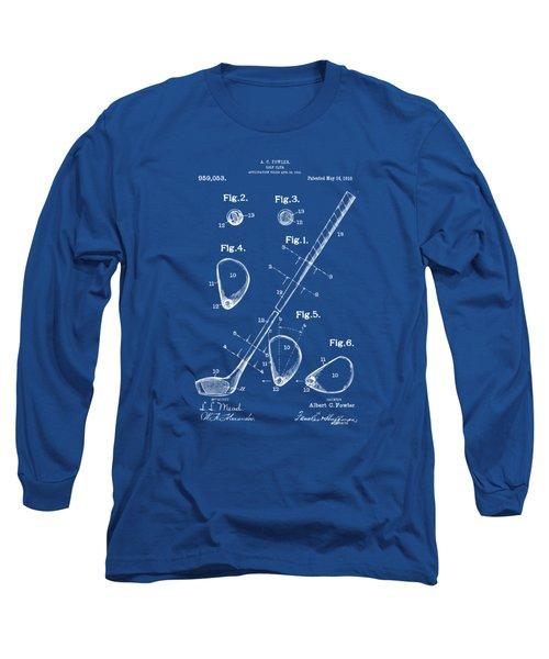 1910 Golf Club Patent Artwork Long Sleeve T-Shirt by Nikki Marie Smith
