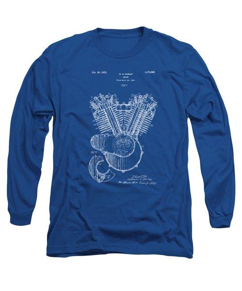 1923 Harley Davidson Engine Patent Artwork - Blueprint Long Sleeve T-Shirt