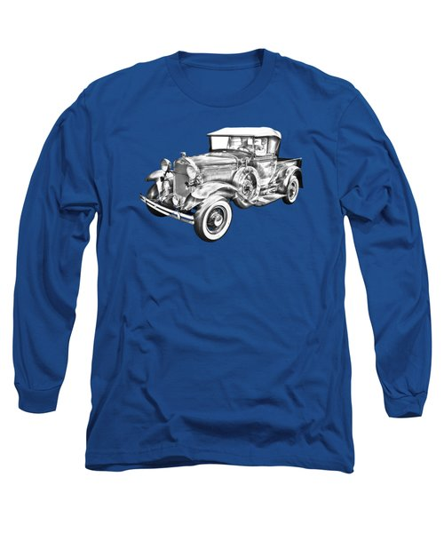 1930 Ford Model A Pickup Truck Illustration Long Sleeve T-Shirt