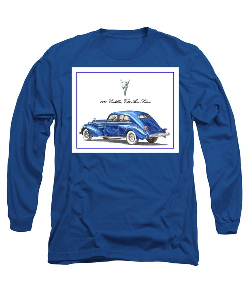 Long Sleeve T-Shirt featuring the painting 1936 Cadillac V-16 Aero Coupe by Jack Pumphrey
