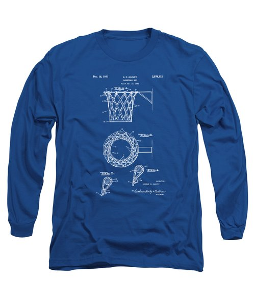 1951 Basketball Net Patent Artwork - Blueprint Long Sleeve T-Shirt by Nikki Marie Smith