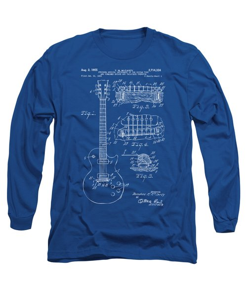 Long Sleeve T-Shirt featuring the drawing 1955 Mccarty Gibson Les Paul Guitar Patent Artwork Blueprint by Nikki Marie Smith