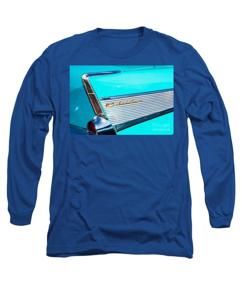 Long Sleeve T-Shirt featuring the photograph 1957 Chevy Bel Air Rear Fin by Aloha Art