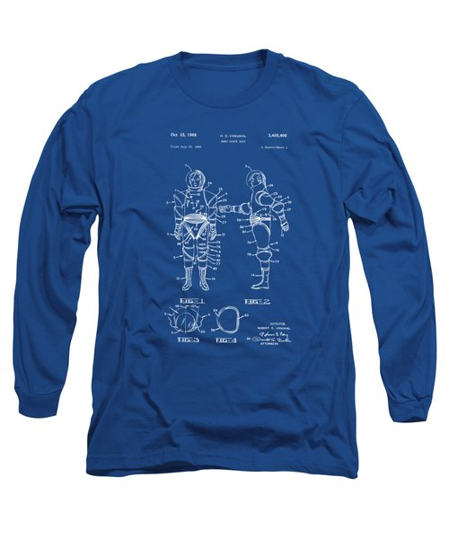 1968 Hard Space Suit Patent Artwork - Blueprint Long Sleeve T-Shirt