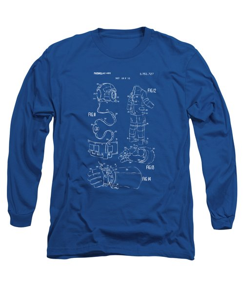 1973 Space Suit Elements Patent Artwork - Blueprint Long Sleeve T-Shirt by Nikki Marie Smith
