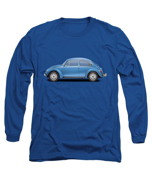 1975 Volkswagen Super Beetle - Ancona Blue Metallic Long Sleeve T-Shirt by Ed Jackson