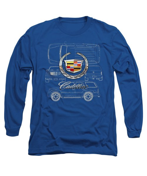 Cadillac 3 D Badge Over Cadillac Escalade Blueprint  Long Sleeve T-Shirt