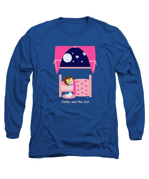 Cathy And The Cat At Night Long Sleeve T-Shirt
