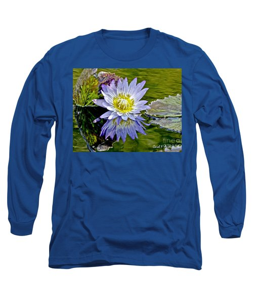 Purple Water Lily Pond Long Sleeve T-Shirt by Carol F Austin