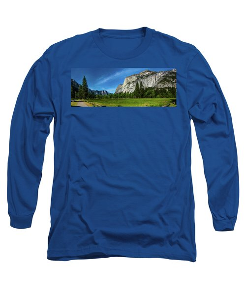 Yosemite Valley Meadow Panorama Long Sleeve T-Shirt