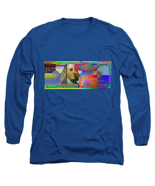 2009 Series Pop Art Colorized U. S. One Hundred Dollar Bill No. 1 Long Sleeve T-Shirt by Serge Averbukh