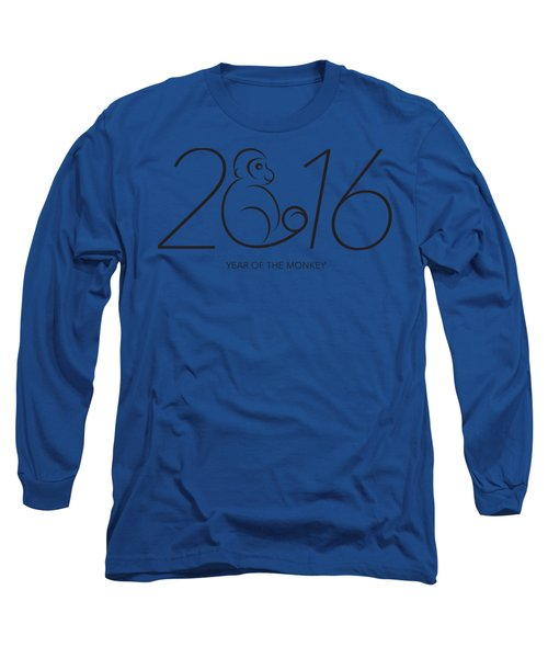 2016 Year Of The Monkey Numerals Line Art Long Sleeve T-Shirt by Jit Lim