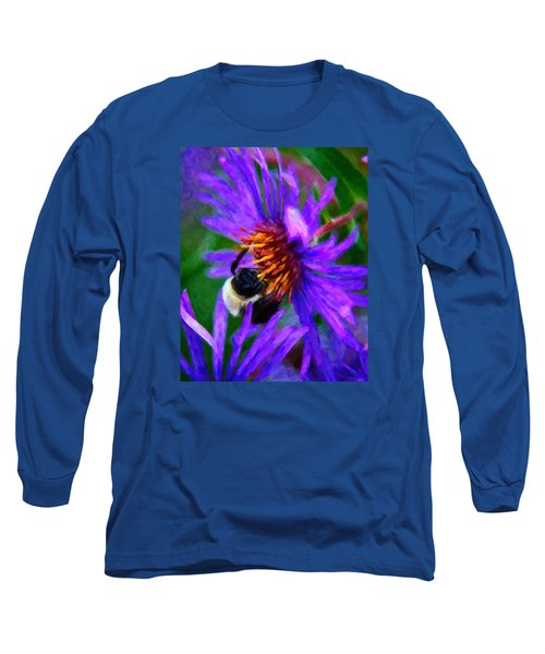 Bee On Purple Flower Long Sleeve T-Shirt