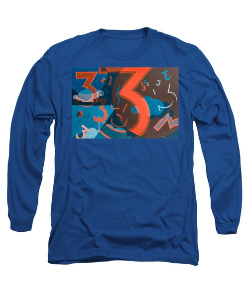 3 In Blue And Orange Long Sleeve T-Shirt