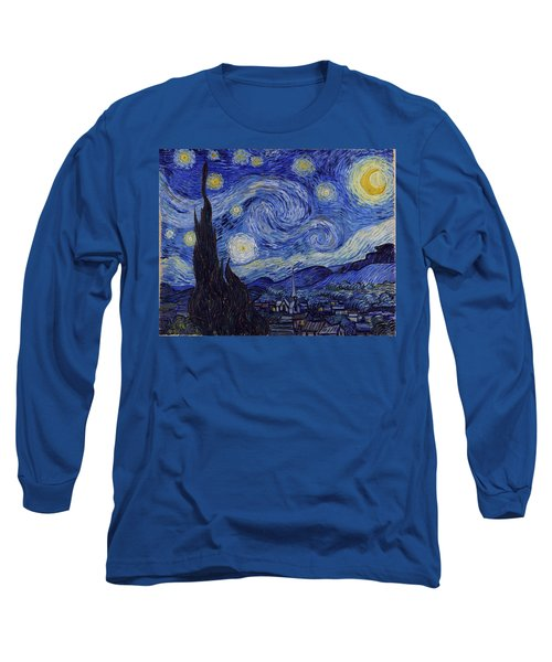 Long Sleeve T-Shirt featuring the painting Starry Night by Van Gogh