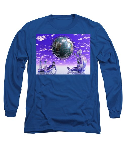 3d Aliens With Caged Earth Long Sleeve T-Shirt