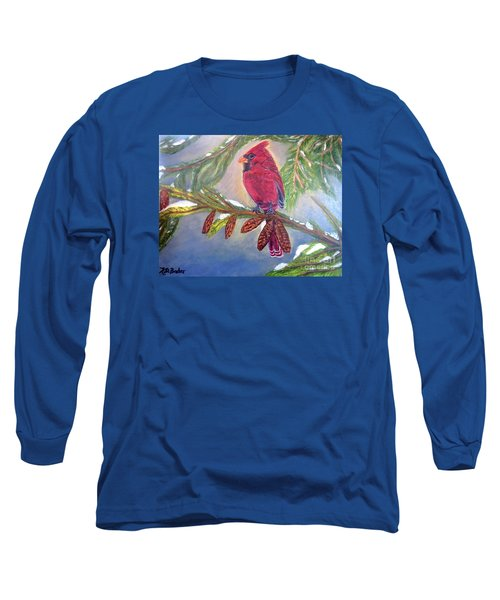 A Cardinal's Sweet And Savory Song Of Winter Thawing Painting Long Sleeve T-Shirt by Kimberlee Baxter