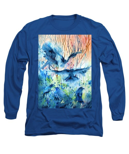 A Conspiracy Of Ravens  Long Sleeve T-Shirt by Trudi Doyle