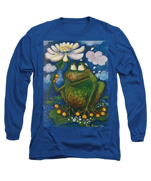Frog In The Rain Long Sleeve T-Shirt by Rita Fetisov