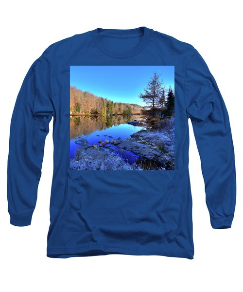 Long Sleeve T-Shirt featuring the photograph A November Morning On The Pond by David Patterson